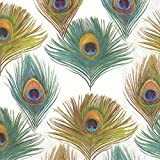 Celebrate the Home Vibrant 3-Ply Paper Cocktail Napkins, Peacock, 20 Count