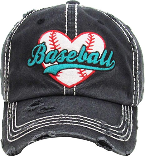 (H-212-BASEBALL70 Distressed Baseball Cap Vintage Dad Hat - Baseball (Charcoal))