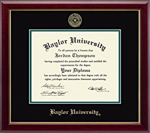 "Church Hill Classics Baylor University Gold Embossed Diploma Frame – Solid Hardwood ""Gallery"" Moulding, Officially Licensed – 11"" h x 14"" w Diploma Size"
