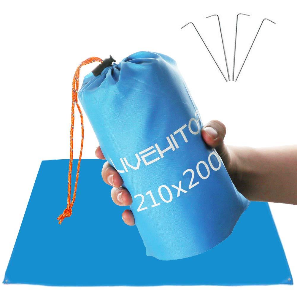 LIVEHITOP Bolsillo Manta de Picnic XXL 210x200 cm Azul Impermeable Plegable Compacto Alfombra de Playa Picnic con Bolsa para Camping Jard/ín Familia al Aire Libre 82.7x78.7