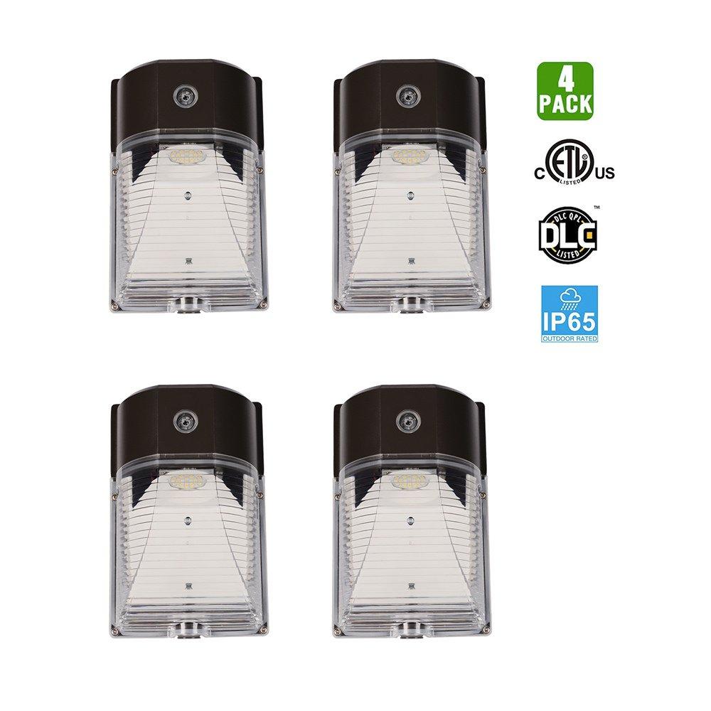 GOOLSUN Mini LED Wall Pack, Bronze Outdoor Security Lighting Fixture, Dusk to Dawn Photocell Included, 5000K, 26W, 3000lm, 150-250W Equivalent, Matte Finish, IP65, 100-277V, 4-Pack