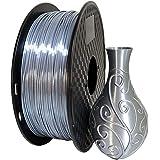 Silk Silver PLA 1.75mm 3D Printer Filament 1KG (2.2LBS) Printing Materials Silky Shiny PLA Metal Silver Like CC3D