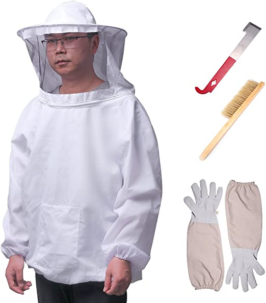 Bee Suit Giacca Guanti Spazzola Alveare J Hook Hive Kit Completo Apicoltura