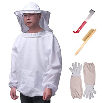 Protective Bee Keeping Jacket Veil Suit 1 Pair Beekeeping Long Sleeve Gloves