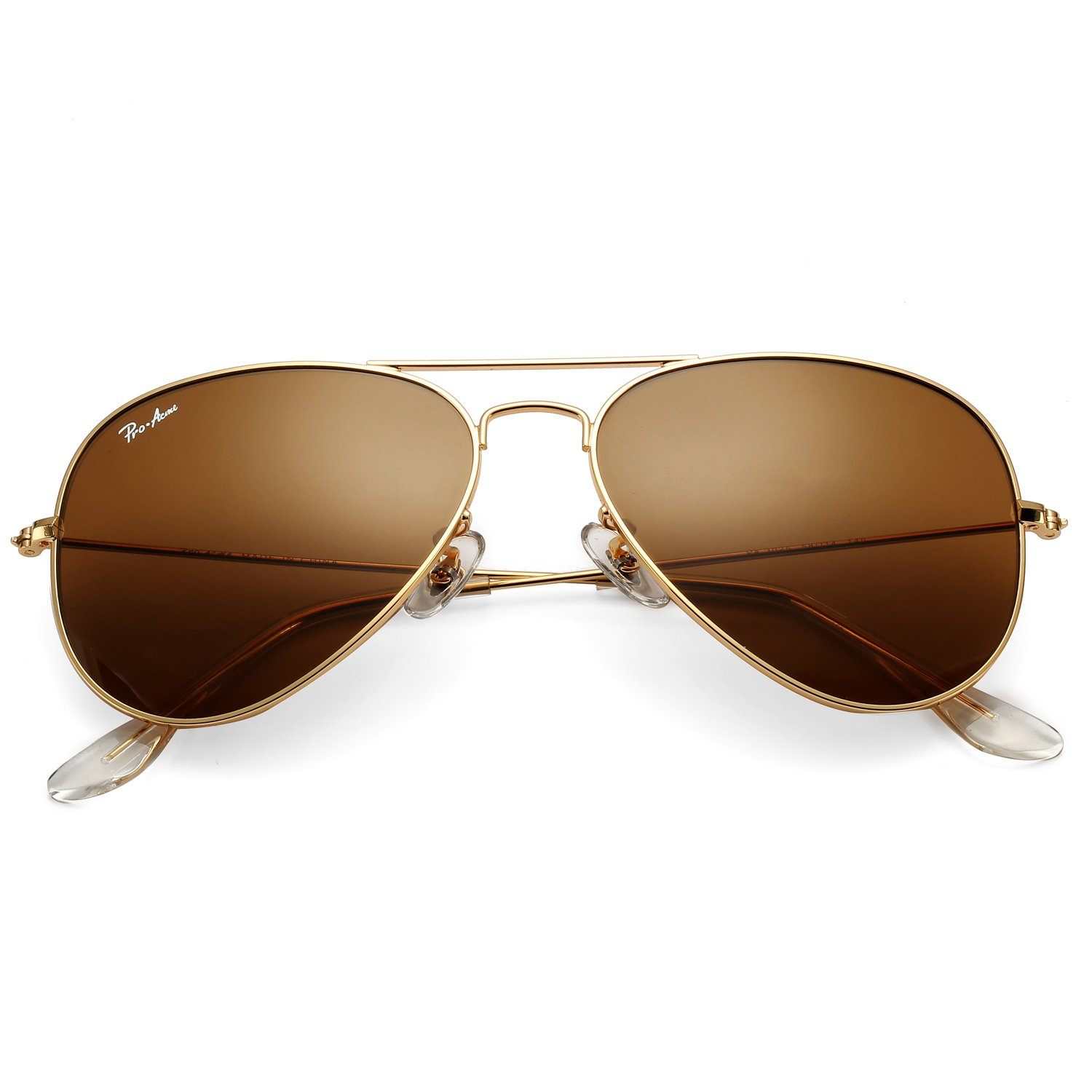 Pro Acme Classic Aviator Sunglasses for Men Women 100% Real Glass Lens (Gold/Brown) by Pro Acme