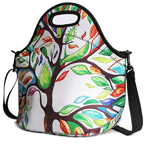 Insulated Lunch Bag, Nuovoware Neoprene Lunch Tote Reusable Picnic Bag Soft Thermal Cooler Tote Multi-purpose Grocery Container with Adjustable Crossbody Strap, Zip Closure, Lucky Tree