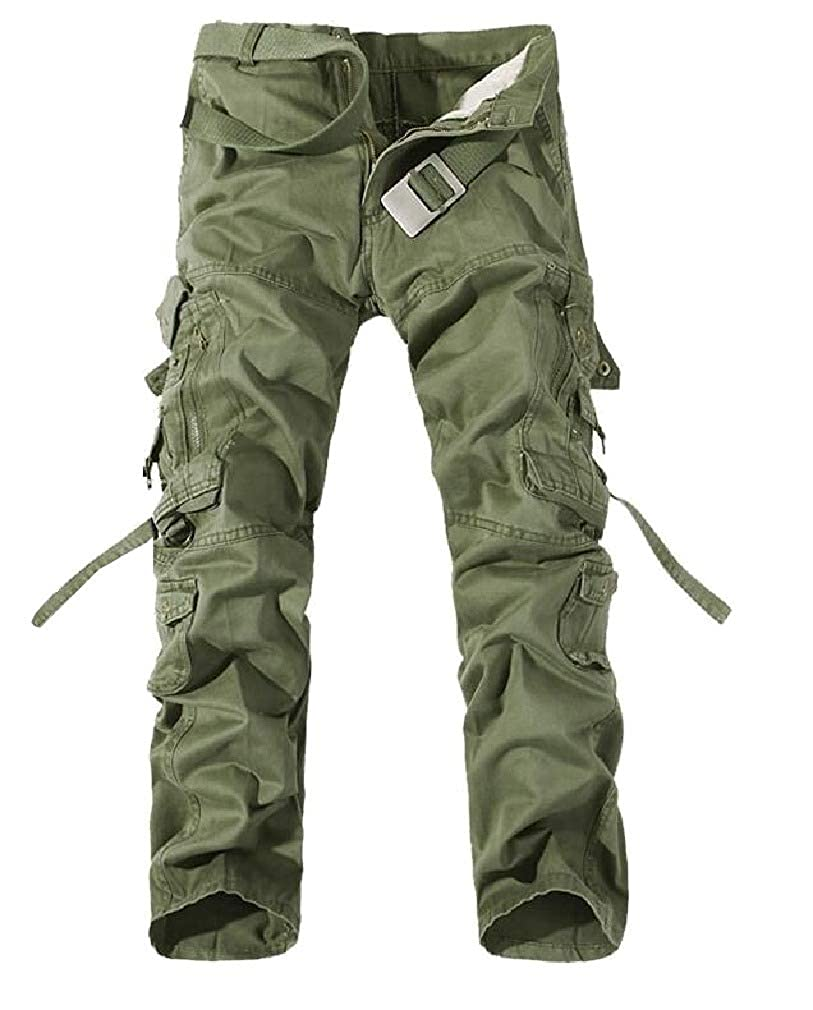 Winwinus Mens Military Outdoor Loose Fit Classic-Fit Soild Cargo Trousers