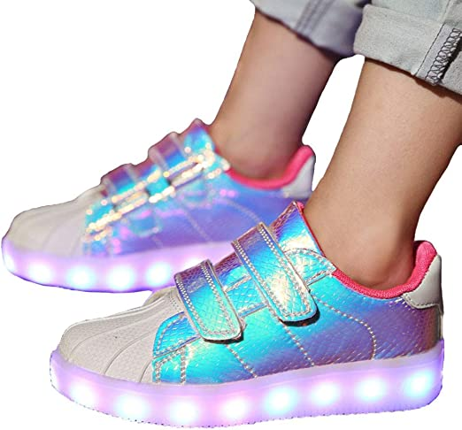 ZYDJ XZ Kids Girls LED Shoes,7 Colors Flashing Sneakers,USB