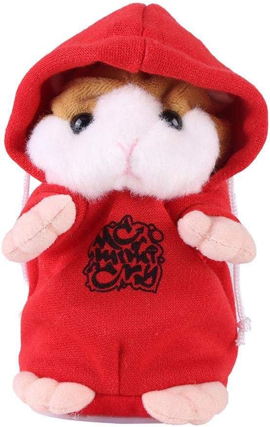 Amasawa Hamster de Peluche de Juguete,Talking Hamster Repite lo Que Dices Cute Plush Electronic Mimicry Hamster Juguete de Peluche Interactivo Regalo para Niños Cumpleaños y Fiesta (Rojo)