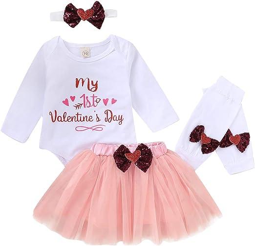 Newborn Baby Girl Clothes My First Valentine/'s Day Romper Top Tutu Skirt Dress Headband 4Pcs Outfit Set