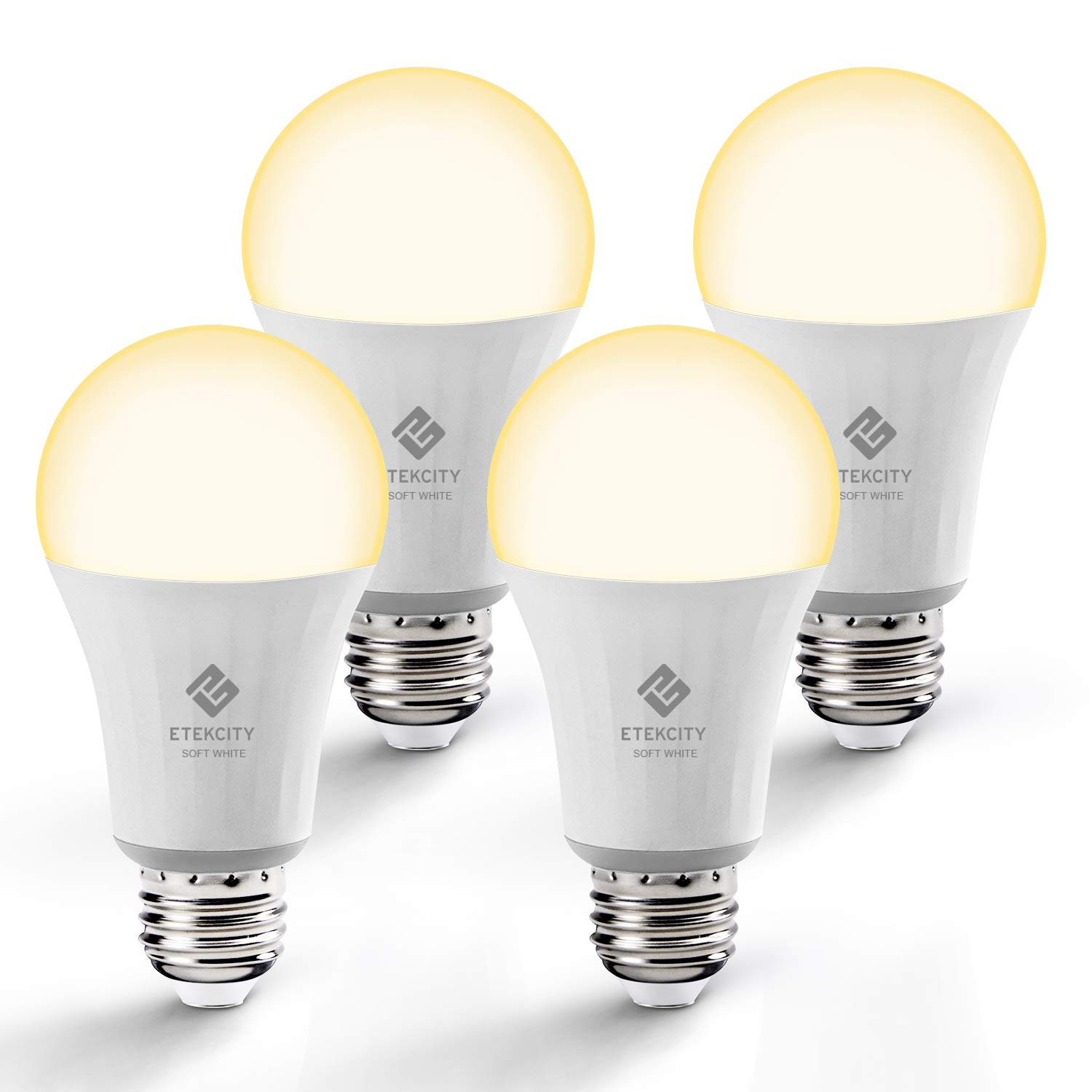 Etekcity Smart Light Bulb, WiFi Dimmable Soft White LED Bulbs, Work with Alexa, Google Home and IFTTT, Easy Setup, Schedule, A19 E26, 60W Equivalent, 806LM, 2700K, No Hub Required, UL Listed(4 Pack)