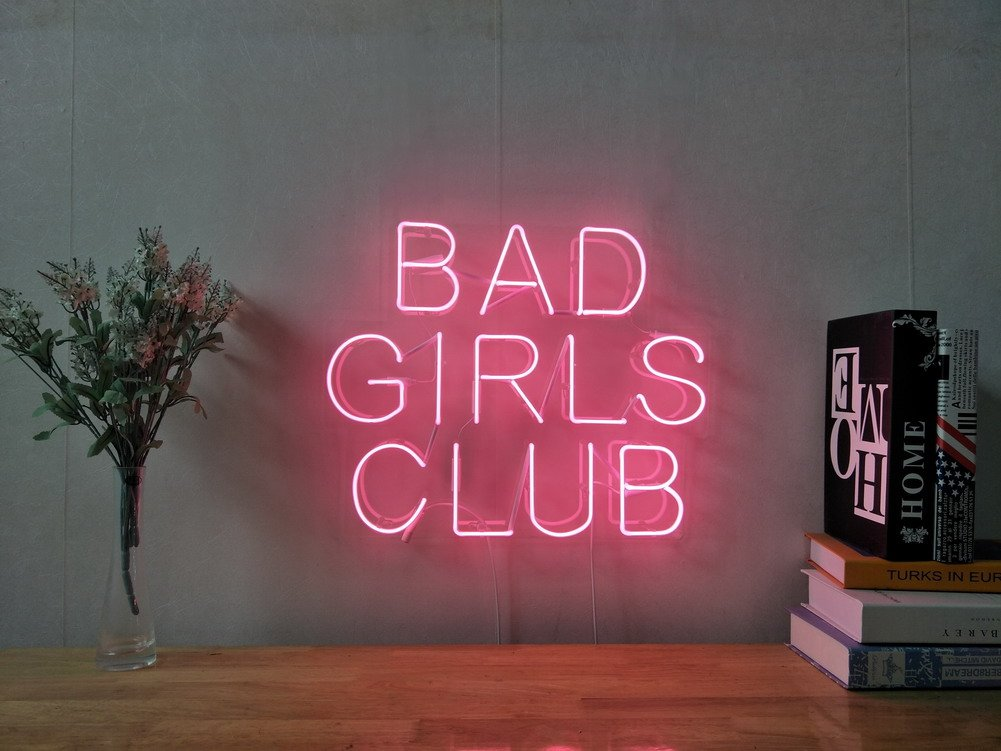 Bad Girls Club Real Glass Neon Sign For Bedroom Garage Bar Man Cave Room Home Decor Handmade Artwork Visual Art Dimmable Wall Lighting Includes Dimmer Artis Scott Ryder