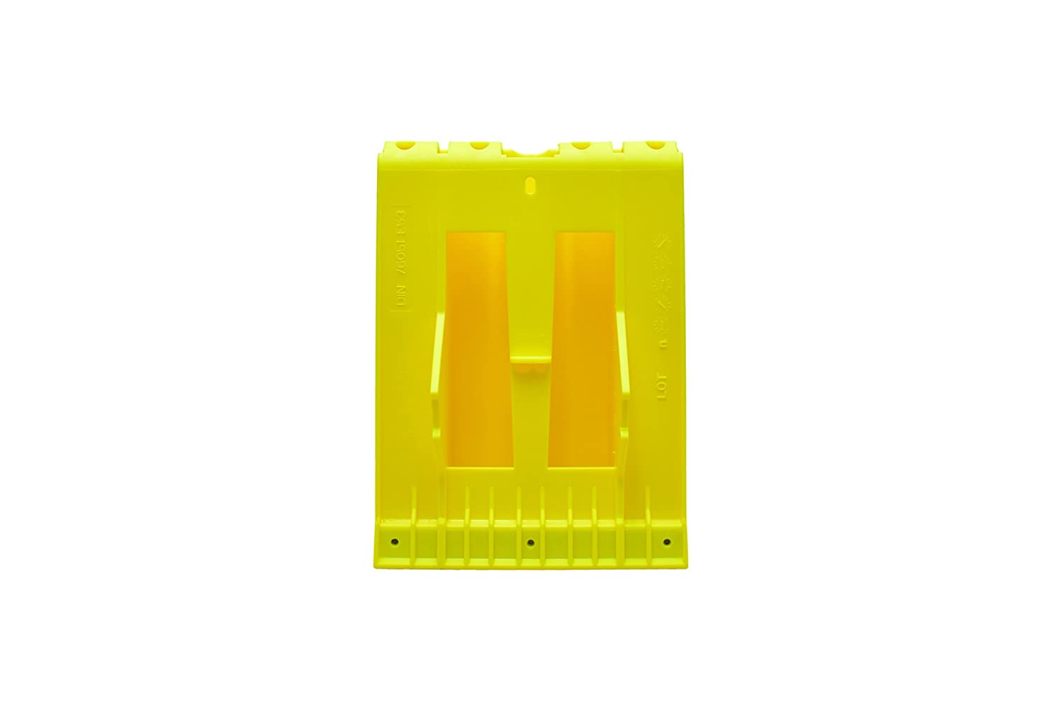 Yellow Plastic Wheel Chock with Galvanised Anti-skid Protection for Lorry or Bus