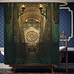 Wanranhome Custom-made shower curtain Gothic HouseMedieval Secret Passage with Torch and Golden Clock on Wall Mystery in Temple Grey Teal For Bathroom Decoration 36 x 72 inches