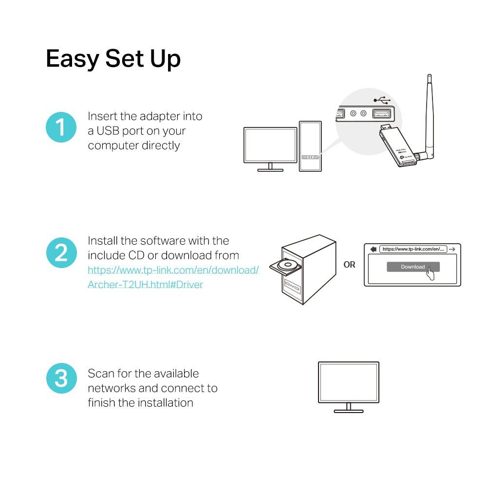 TP-LINK Archer T4UH Adaptador inal/ámbrico USB de Banda Dual AC 1200 Mbps, Antena Externa, USB 3.0, Cable de extensi/ón USB