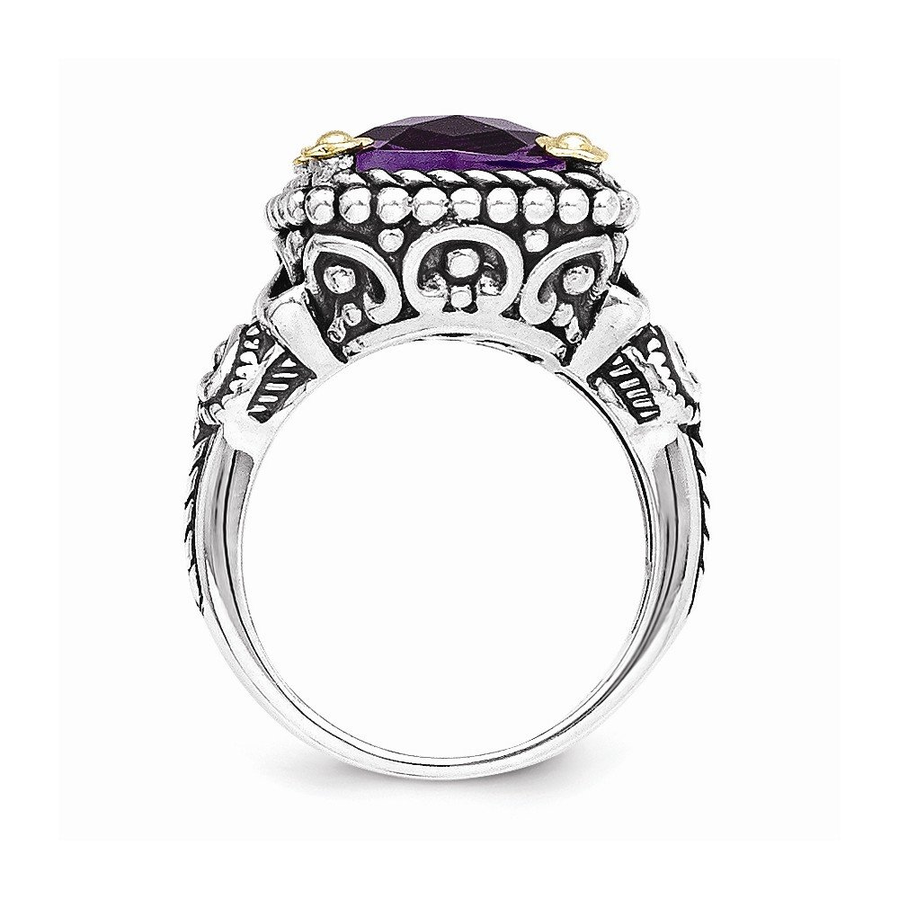 Sterling Silver with 14k 4.10Amethyst Ring