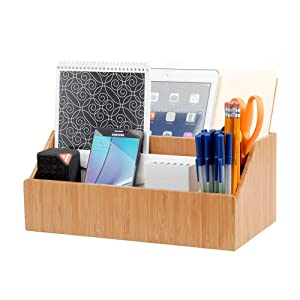 MobileVision Bamboo Desktop All-in-One Organizer for File Folders, Notepads, Pens, Stationary Items, Small Electronics and More