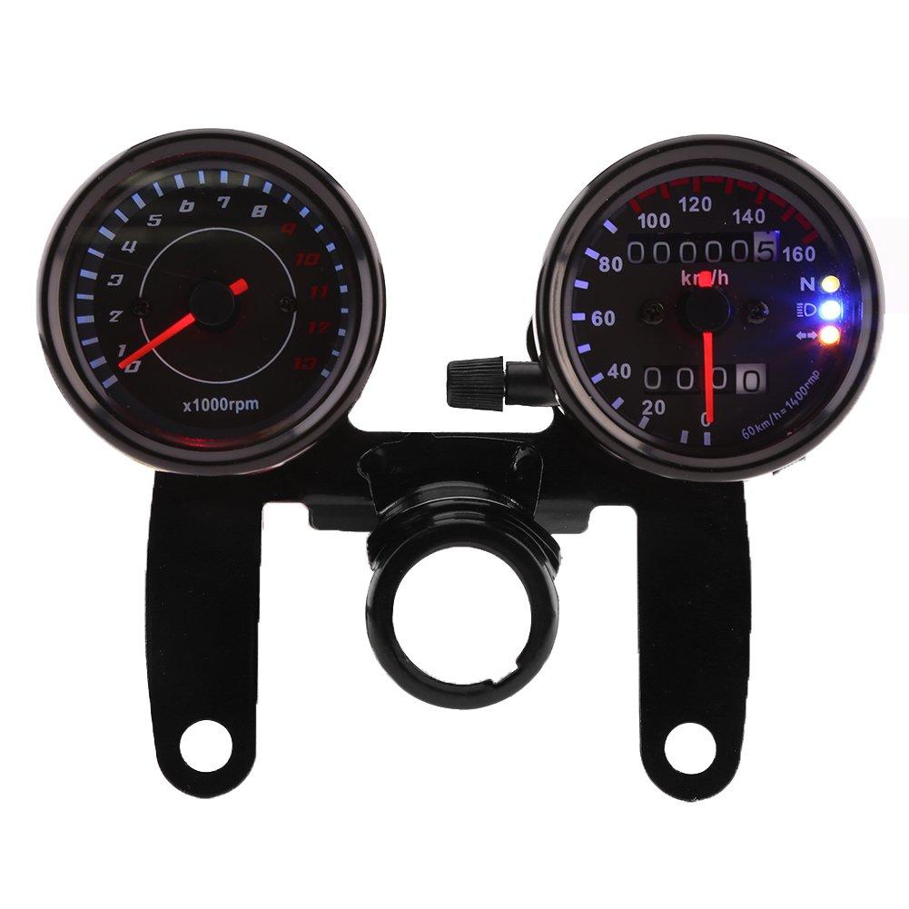 Qiilu Universal Tacó metro de 13000 RPM + Velocí metro Km/h con Indicador LED Odó metro de doble pantalla para 12V Motocicleta Motos