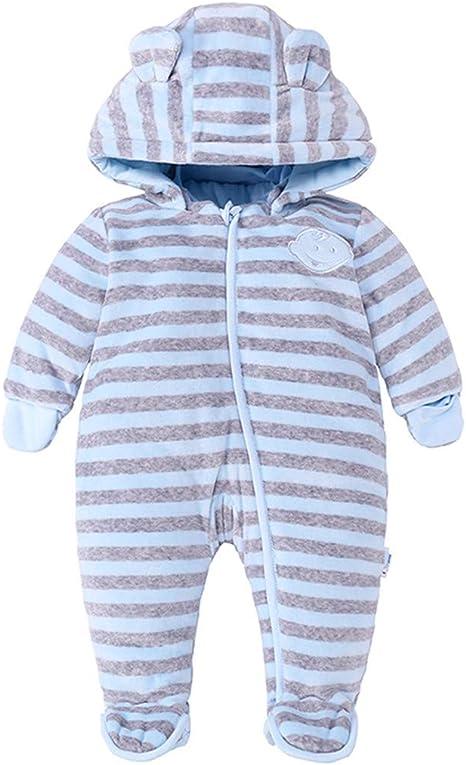 JiAmy Recién Nacido Bebé Ropa de Invierno Mameluco con Capucha Traje de Nieve Pelele de Algodón Trajes a Rayas Azul 0-3 Meses: Amazon.es: Bebé
