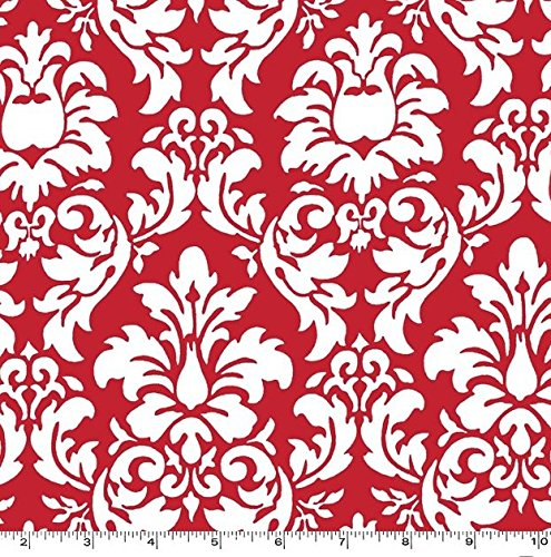 Dandy Damask White on Red Rouge Two Yards (1.8m) CX3095-ROUG-D