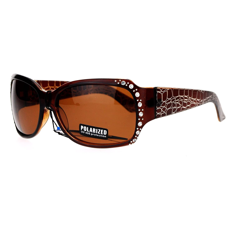 011c925ce7a Amazon.com  Anti Glare Polarized Womens Rhinestone Plastic Rectangular  Butterfly Sunglasses Black  Clothing