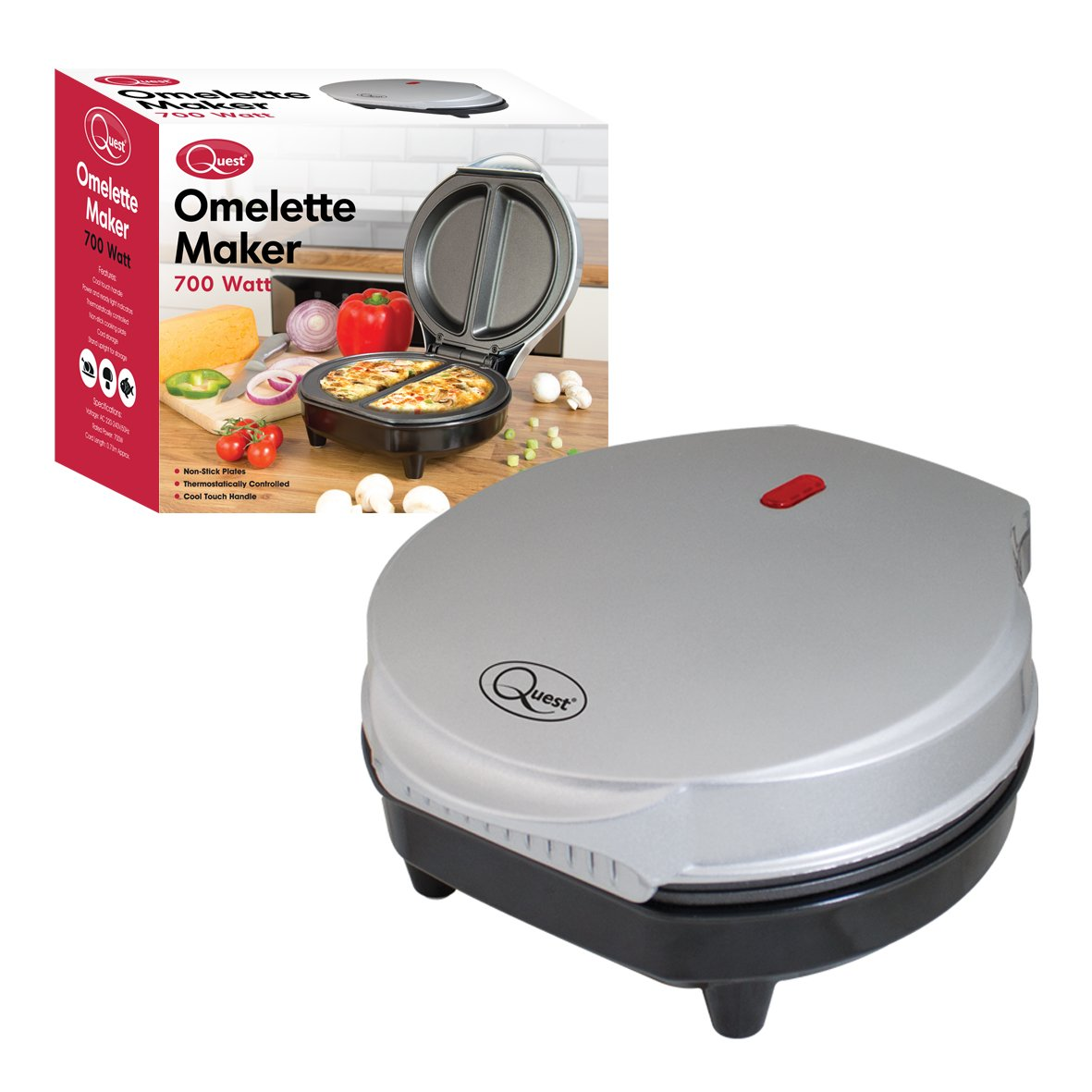 Quest Non-Stick Cool Touch Dual Omelet Maker, 700 W by Quest Benross Group 35640