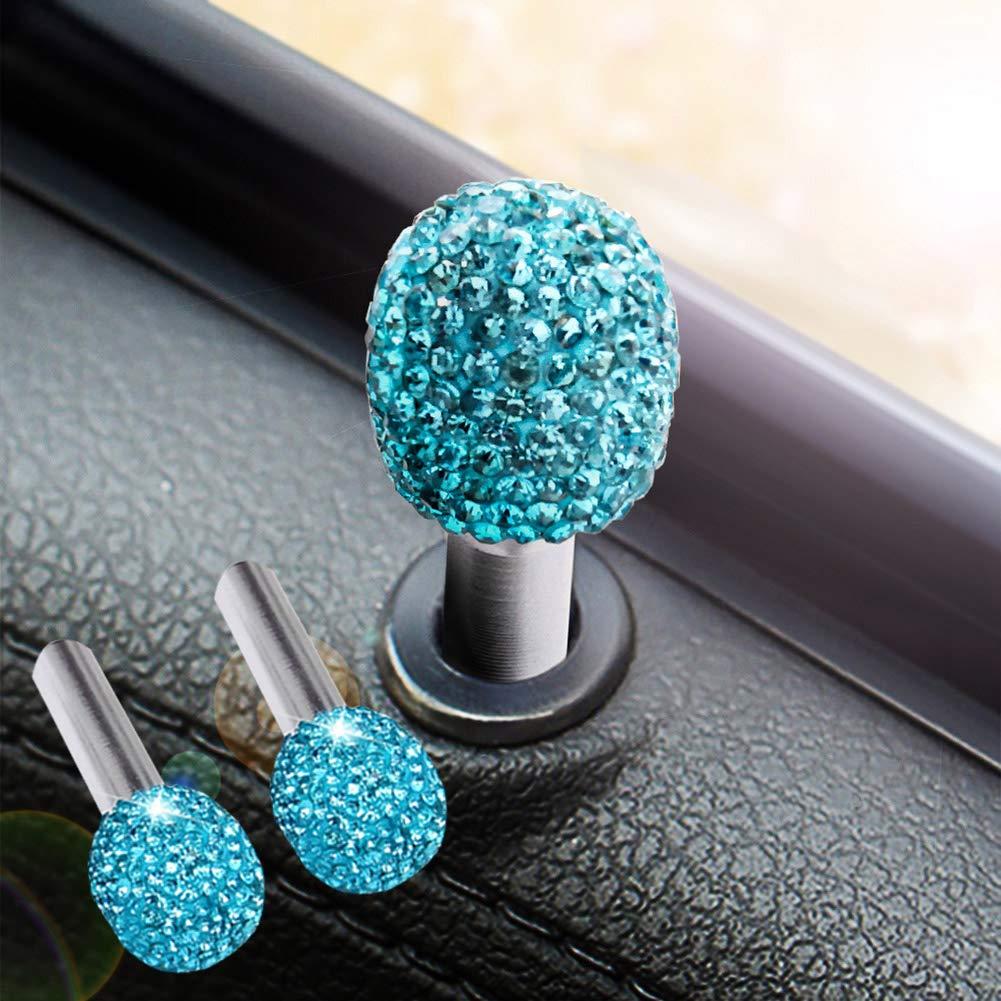 RENNICOCO Bling Bling Car Door Lock Pull Rod Bolt Cover Interior Trim Rhinestones Bling Car Accessories for Women Universal