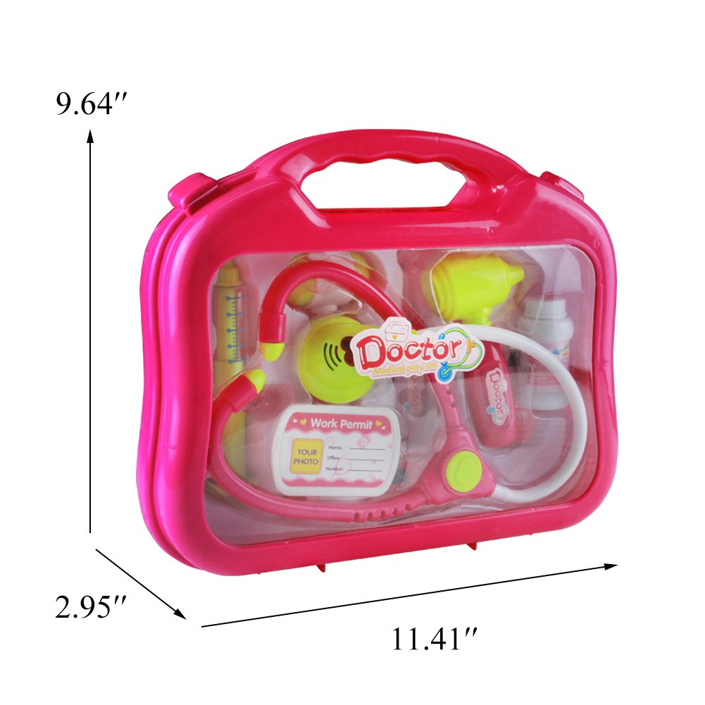 jerryvon Doctor Kit Girls Toys Medical Case Pretend Role Game Doctor Nurse Playset Gift for Kids Girls Over 3 Years Old, Pink