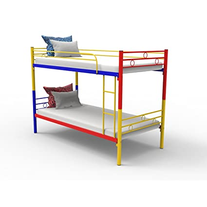 Forzza Maria Metal Double Decker Bed (red yellow \u0026 blue)