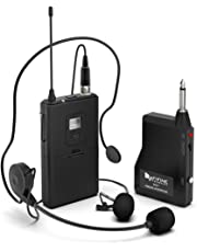 Wireless Microphone System,FIFINE Wireless Microphone Set with Headset and Lavalier Lapel Mics, Beltpack Transmitter and Receiver,Ideal for Teaching, Preaching and Public Speaking Applications-K037B