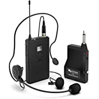 Wireless Microphone System,Fifine Wireless Microphone set with Headset & Lavalier Lapel Mics, Beltpack Transmitter&Receiver,Ideal for Teaching, Preaching and Public Speaking Applications.(K037B)
