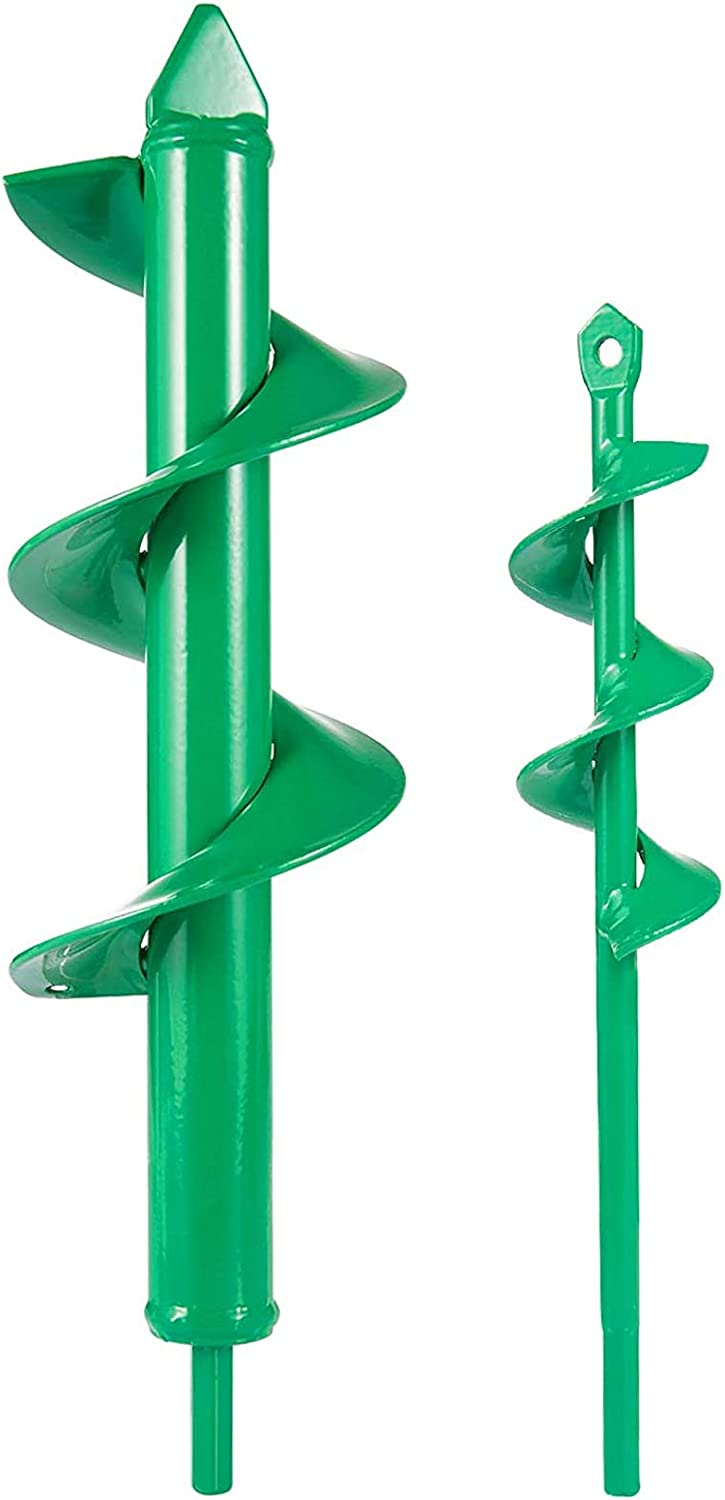 "2 Pcs Auger Drill Bit- 3.2'' x 12"" and 1.6'' x 8.7"" Garden Drill Bit Garden Plant Auger Post Hole Digger for 3/8"" Hex Driver Drill Planting(Grass Green)"