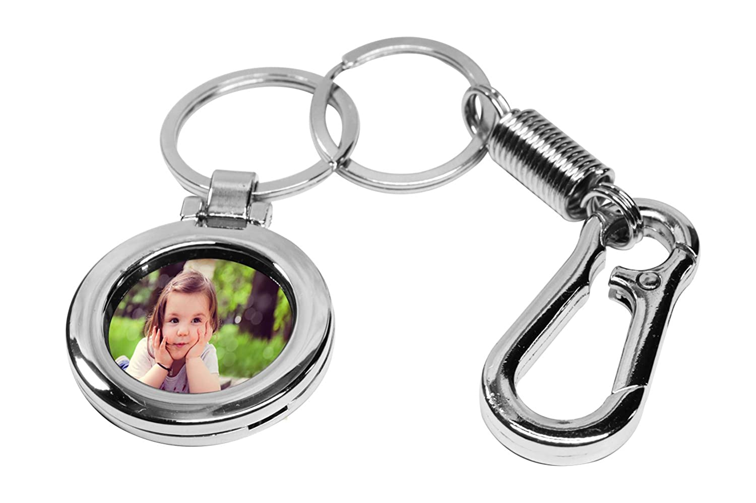Photo Frame Keychain Photo Snap-in Key Chain, Metal Picture Frame Keyring with Carabiner Shape Keyholder for Men and Women AVEC JOIE