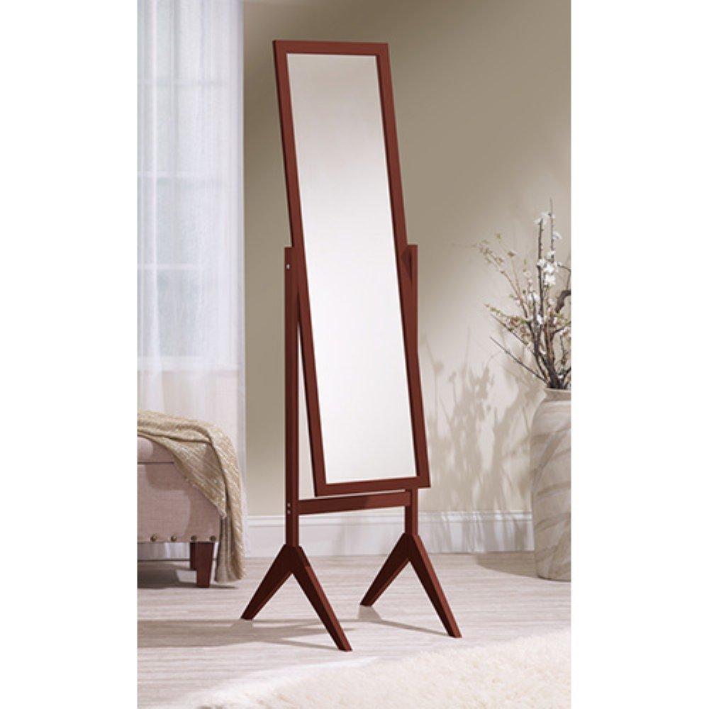 Cherry Mirredek Adjustable Free Standing Tilt Full Length Body Floor Mirror, Cheval Style Tall Mirror, White