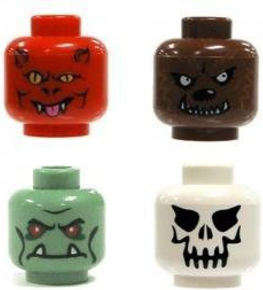 LEGO Minifigures Monster Heads 4 Pack - Demon, Werewolf, Frankenstein/Troll, Evil Skeleton
