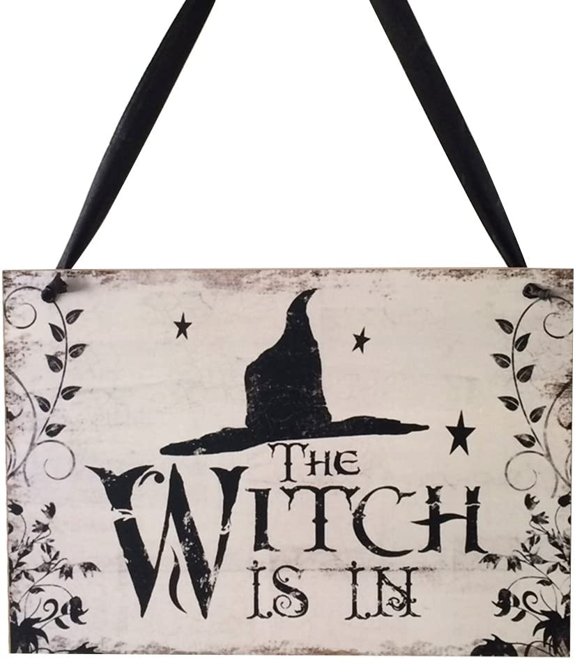 EBTOYS Halloween Hanging Sign Wooden Door Hanger WITCH IS IN Hanging Sign Decor Halloween Party Supplies Decorations