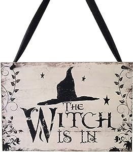 EBTOYS Halloween Hanging Sign Wooden Door Hanger WITCH IS IN Hanging Sign Decor Halloween Party Supplies Decorations
