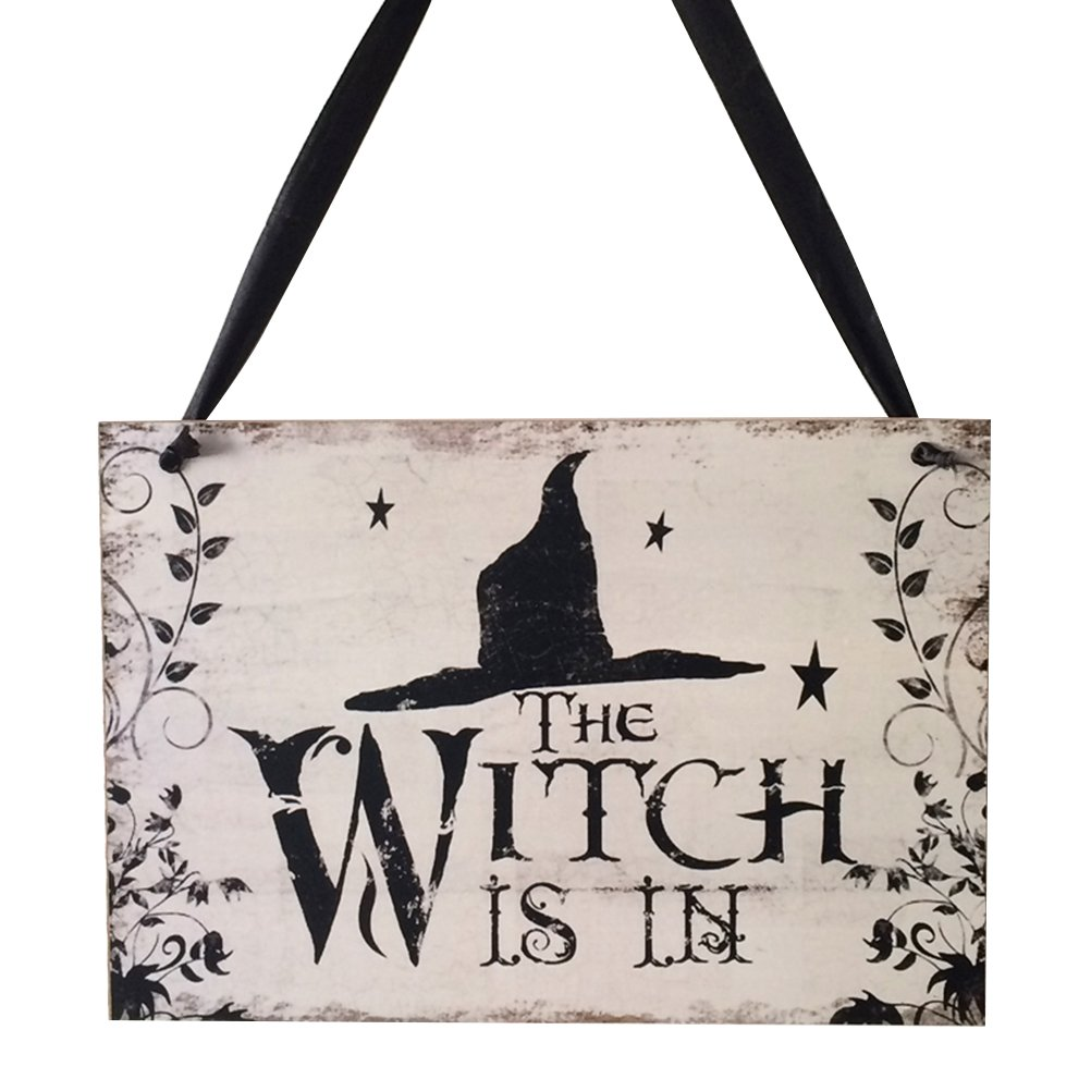 BESTOYARD Halloween Hanging Hanging Sign Dolcetto o scherzetto Placca di legno Board for Haunted House - Witch is in
