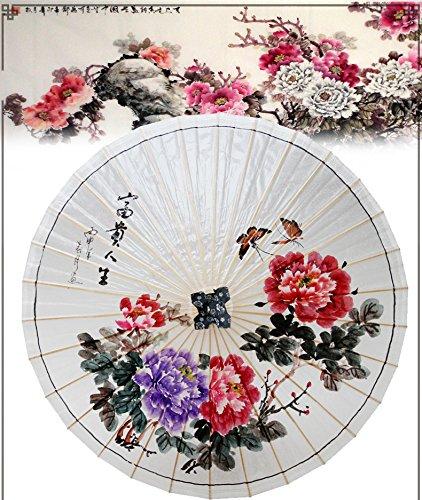 ssby puro pintado a mano chino Peony paraguas, Retro ...