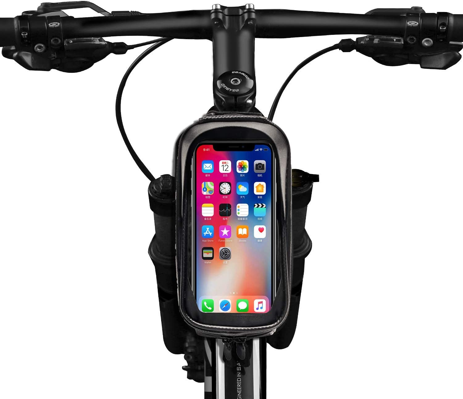 Potok Bicycle Phone Mount Bag Waterproof Front Frame Bike Bags Sensitive Touch Screen Large Capacity Sun Visor Top Tube Bike Bag Compatible with iPhone Xs Max// 8Plus Galaxy Note 9