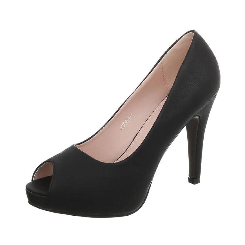 Cingant Woman Damen Peeptoes/Elegante Pumps/Stilettoabsatz/High Heels/Damenschuhe/Schwarz -