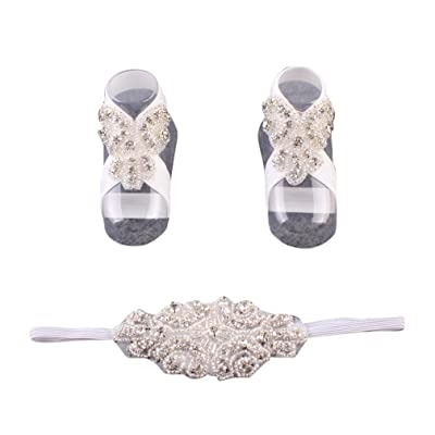 Sunbona Newborn Baby Barefoot Sandals Toddler Pearl Flower Foot Anklet