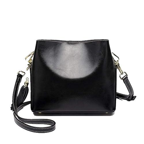 ec6ebcb59f28 Crossbody Bag for Women Vintage Handbag PU Leather Adjustable Strap Small  Purse with Tassel  Handbags  Amazon.com