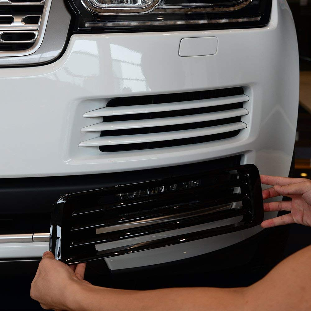 ABS Plastic Chrome Front Fog Light Grille Cover Trim Accessories for Landrover Range Rover Vogue LR405 2013-2017 Gloss black by Autobro (Image #3)