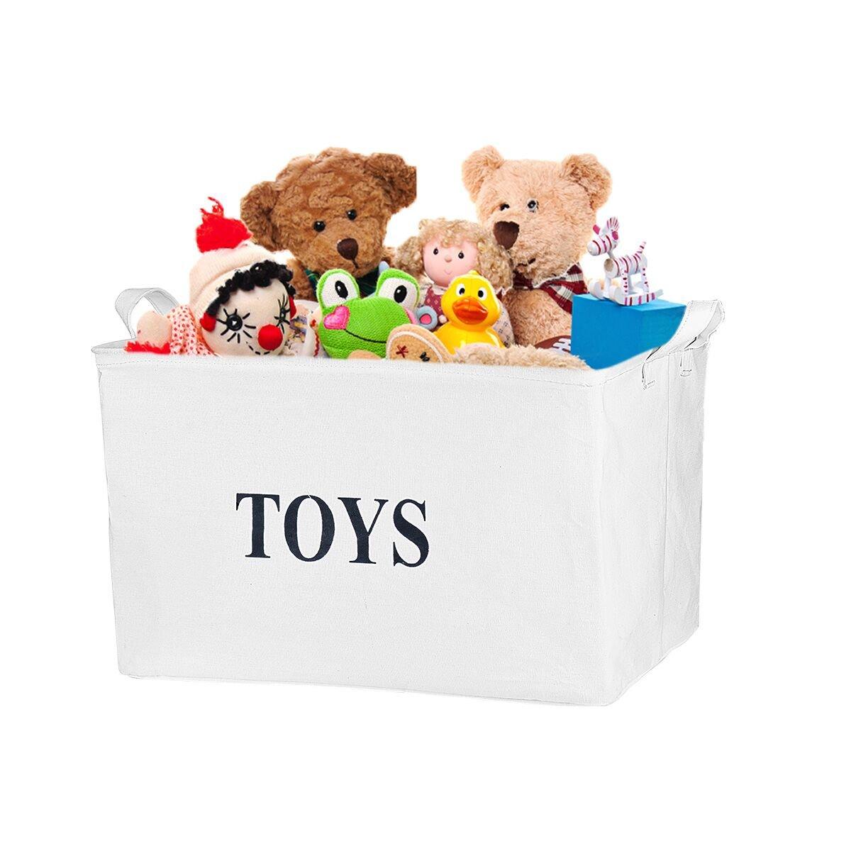 Ilyever White 17''Jute ''TOYS''Storage Basket Bin Storage Box Perfect for Organizing Baby Toys, Kids Toys, Dog Toys, Baby Clothing,Children Books