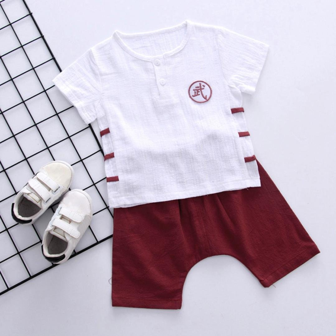 7787cfea Amazon.com: TOOPOOT Baby Boy Short Sleeve T-Shirt Tops+Short Pants Outfit  Casual Outfit Kung Fu Print Boys Tops: Clothing