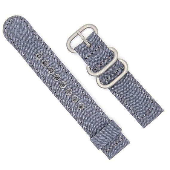 Correa de reloj de 26 mm resistente Caqui cosido lienzo para hombres y mujeres de la OTAN correas de doble algodón reloj lienzo Bandas: Amazon.es: Relojes