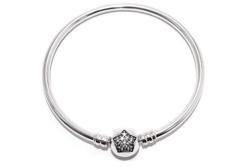 649d11a0aa97 Missy Jewels Pulsera Mujer para Charms Tipo Pandora 100% Plata de Ley,  Fabricada en España, Cierre Barril con Circonitas…