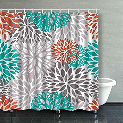 Accrocn Waterproof Shower Curtain Curtains Fabric Orange Gray And Turquoise White Dahlia Extra Long 72x78 Inches