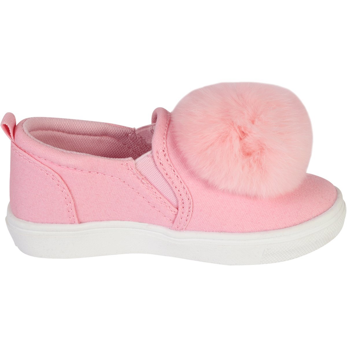 10 M US Toddler Nicole Miller New York Toddler Girls Canvas Slip On Pom Pom Sneakers Pink